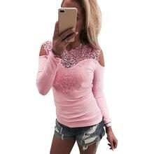 Милая Кружевная футболка женская с открытыми плечами розовая Приталенная футболка женская с круглым вырезом Осень Повседневные Элегантные Топы футболки женская одежда