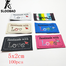 Sloobao 100pcs hand made love heart labels woven Clothing Labels Embossed Tags DIY Flag Labels For Garment Sewing Accessores