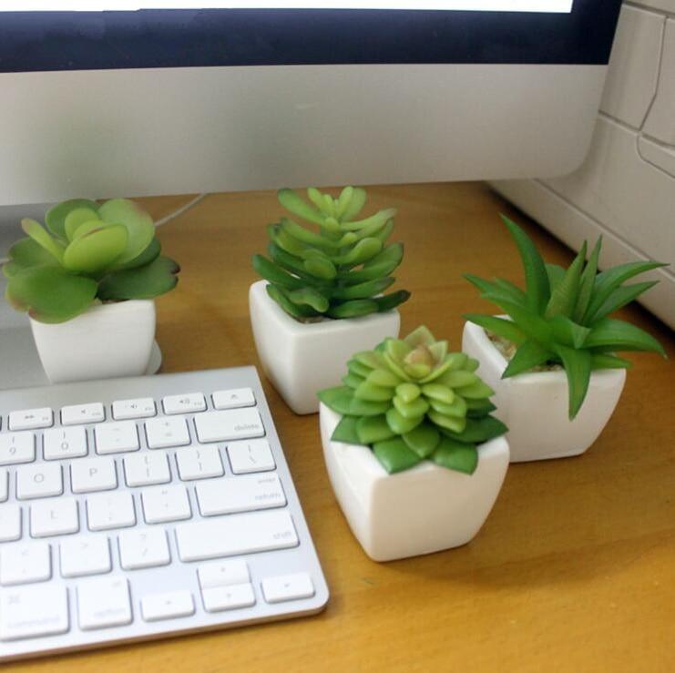 mini florero creativo u artificial plantas suculentas florero blanco flores follaje para escritorio de oficina
