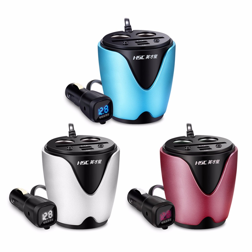 Colored usb car charger - Universal 3 Color Output 2 Usb Car Charger With Voltage Current Display Car Cup Holder Car