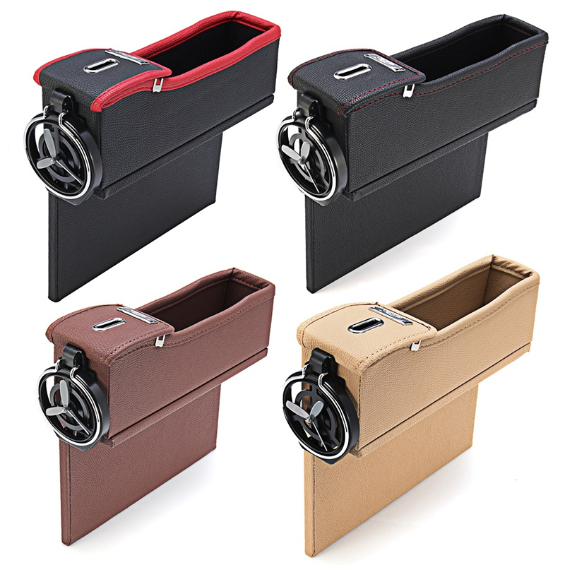 Leather Car Storage Bag Box Money Pot Beverage Holder Car Seat Pocket Organizer Black Red and Black Brown Cream Color