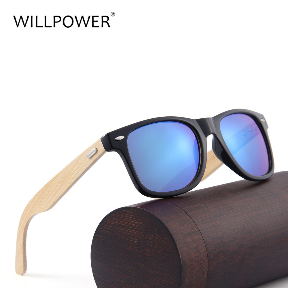 WILLPOWER Men Bamboo Sunglasses Wood Sunglass Women Brand Designer Mirror Lens Custom Logo Sun Glasses
