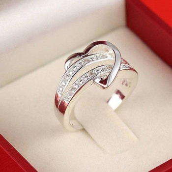 Half heart-shaped Double Rhinestone Heart Love Ring Rings Products under $30 2ced06a52b7c24e002d45d: 10|11|5|6|7|8|9