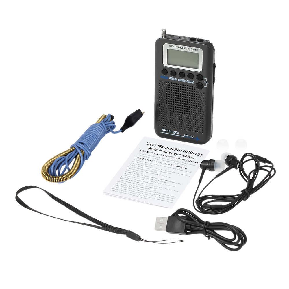 HanRongDa HRD-737 Radio Portatile Aeromobili Ricevitore a Banda FM/AM/SW/ CB/Aria/VHF Radio Del Mondo band con Display LCD Alarm Clock