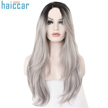 Fashion Girl Cosplay Gray curly human hair wig Long Natural Silver Long Wigs for White /Black Women Middle Part Nature Wigs(China)