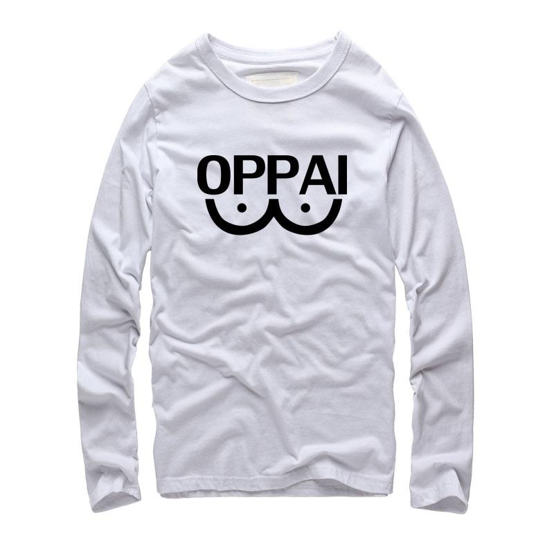 Japanese harajuku styles unisex Oppai printed font b Funny b font T Shirts Fashion tide font