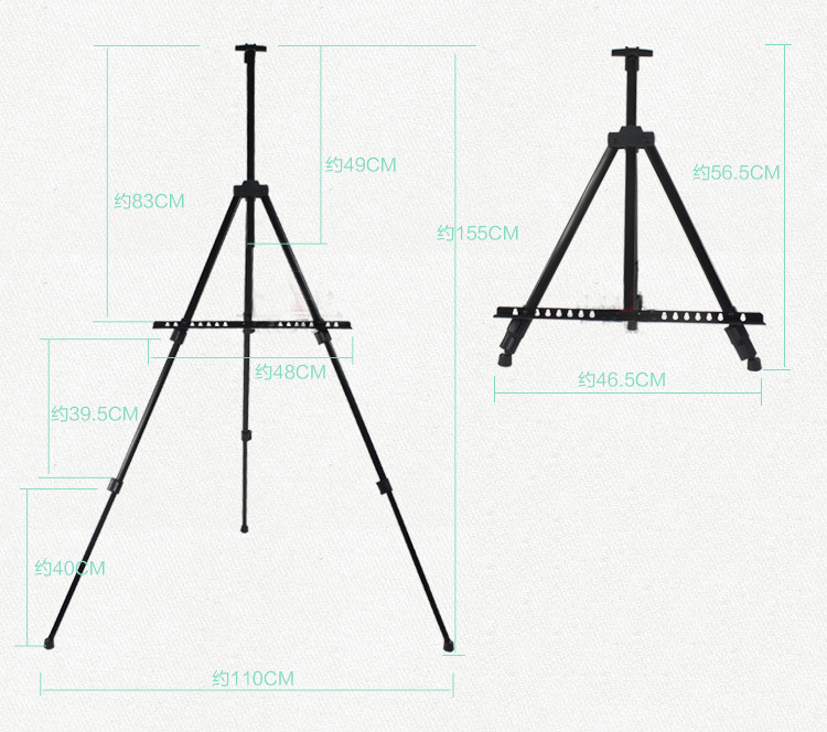 High Quality Plastic Metal Iron Tripod Easel Aluminum Alloy Easel Portable Painting Easel Art Drawing
