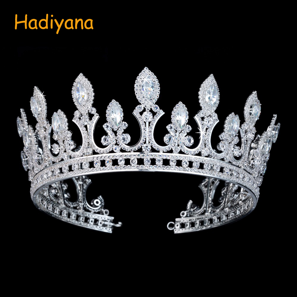Hadiyana luksusowe ślubne akcesoria do włosów dla nowożeńców korona z Zrconia i kryształ moda biżuteria duże tiary korony dla kobiet BC3436 w Biżuteria do włosów od Biżuteria i akcesoria na  Grupa 1