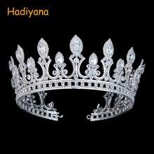 Hadiyana 高級ブライダルウェディングヘアアクセサリー王冠 zrconia とクリスタルファッションジュエリービッグティアラ女性のための BC3436