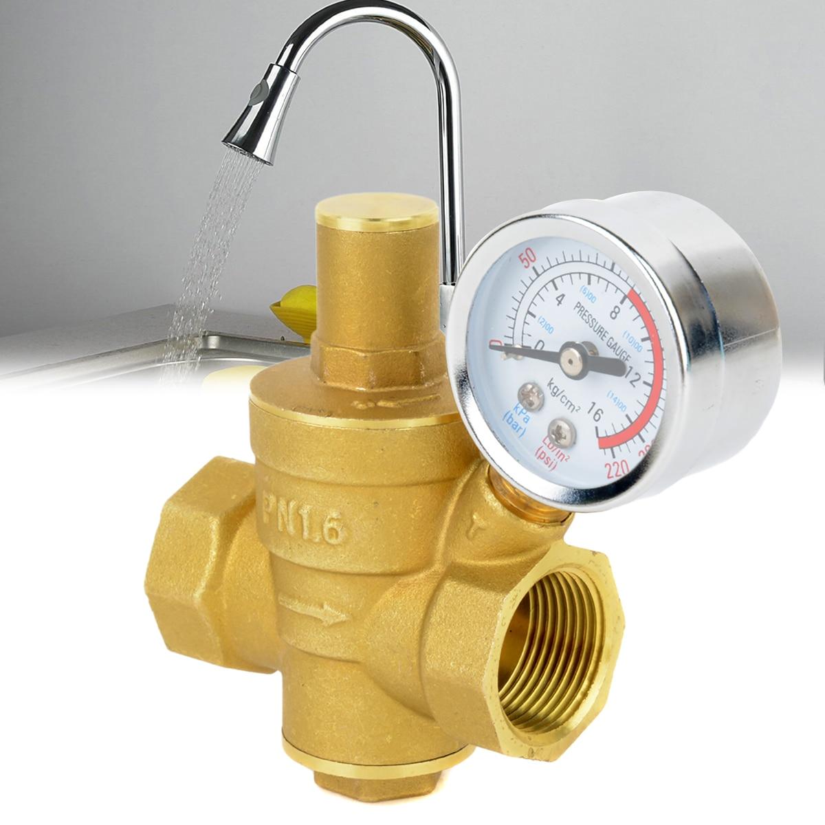 1//2 Brass Water Pressure Regulator Relief Valve Pressure Reducing Regulator Valve Water Flow Valve with Guage Pressure Reducing Valve