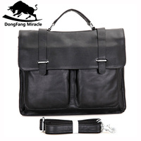 DongFang Miracle Vintag Men Briefcase Genuine Leather Business Shoulder Bags Quality Stylish Brand Handbags Tote Bag