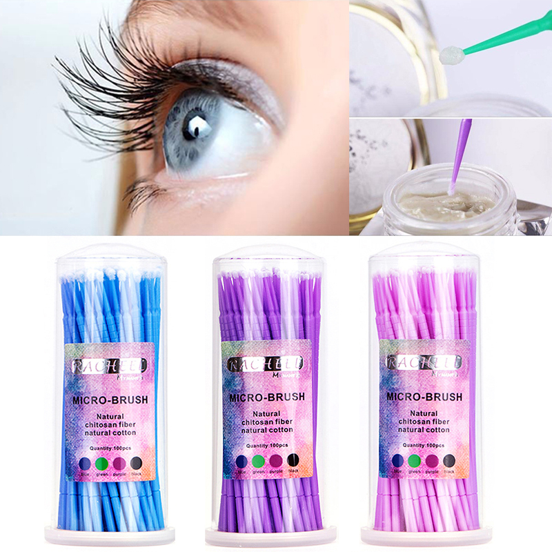 3 Colors To Choose 100Pcs/pack Micro Brush Disposable Applicators Eyelash Extensions Remove The False Eyelashes Cotton Swab