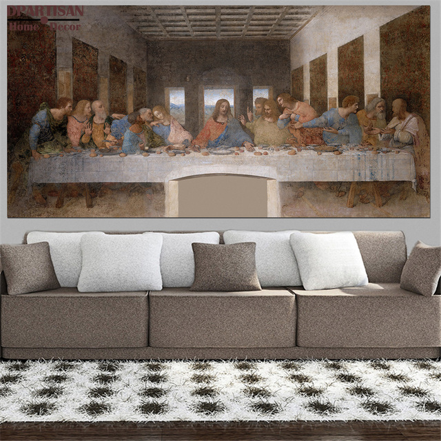 Us 38 99 Extra Sizes Oil Print Canvas Wall Art Decor Pictures The Last Supper By Leonardo Da Vinci Wall Painting Art No Frrame Print Artr In