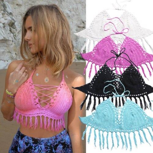 ddc39f9dfd8c7 2015 Hot New Women Boho Beachwear Crochet Vest Bralet Sexy Bra Crop Bustier  Cami Tank Top