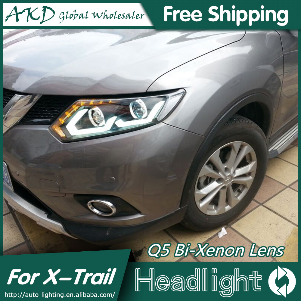 AKD Car Styling for Nissan X-trail Headlights 2014-2015 New Rouge LED Headlight LED DRL Bi Xenon Lens High Low Beam Parking akd car styling for nissan teana led headlights 2008 2012 altima led headlight led drl bi xenon lens high low beam parking