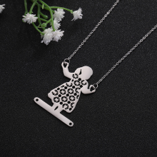 My Shape Jewelry Accessories Stainless Steel Cute Girl swinging Geometric Pendant  Necklace