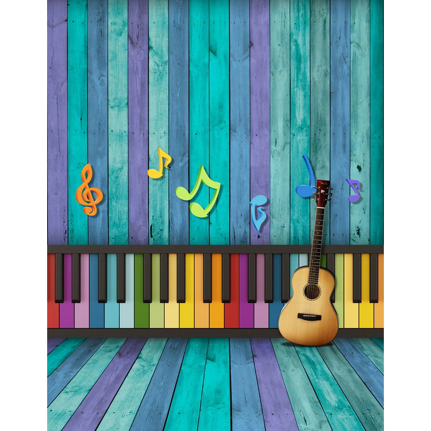 Custom vinyl cloth music key guitar wood plank room photo backgrounds for school children portrait photography studio backdrops custom vinyl cloth wood timber wall