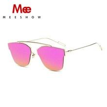 33ab12c91 MEESHOW الحديثة القط العين النظارات الشمسية النساء الرجال نظارات معدنية روز  الذهب نظارات شمسية عدسات عاكسة