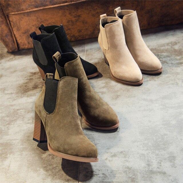 Осенние женские ботинки на толстом каблуке стильные женские сапоги из натурального нубука с боковой молнией модные ботильоны ботинки «мартенс» Botas Mujer большой размер