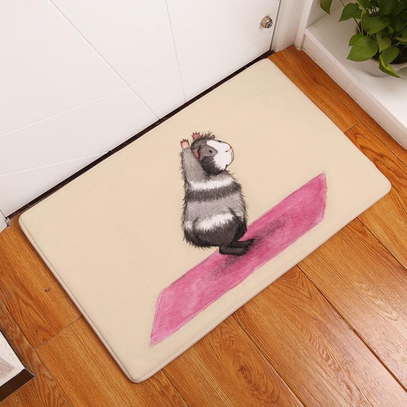Alfombra de franela de dibujos animados, ratas de yoga, estera de - Textiles para el hogar