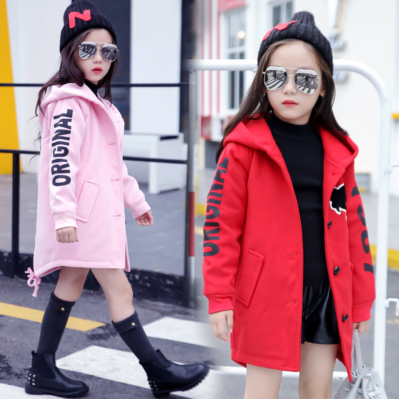 Image 4 - Girls Clothes Autumn and Winter 2019 New Children Fashion Cartoon Thick Warm and Medium Long Woolen Coat Jackets 4 12 YearJackets & Coats   -