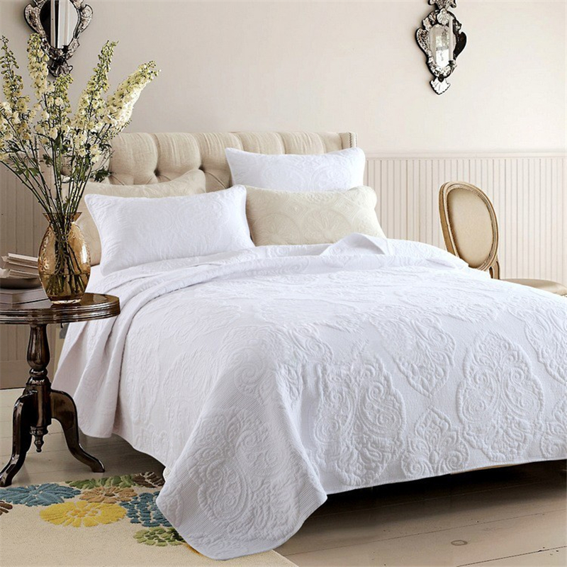Summer Cotton Vintage Floral Comforter Bedding Set 3Pc White Beige Queen Size With Bed Sheet Pillowcase Embroidery Bedspread Set