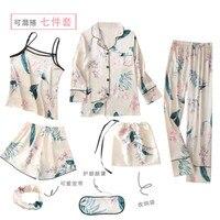 QWEEK 7 Pieces Sets Silk Pajamas For Woman Satin Pajamas Set Sexy Spring Summer Autumn Pyjamas Women Printing Pijama Home Wear