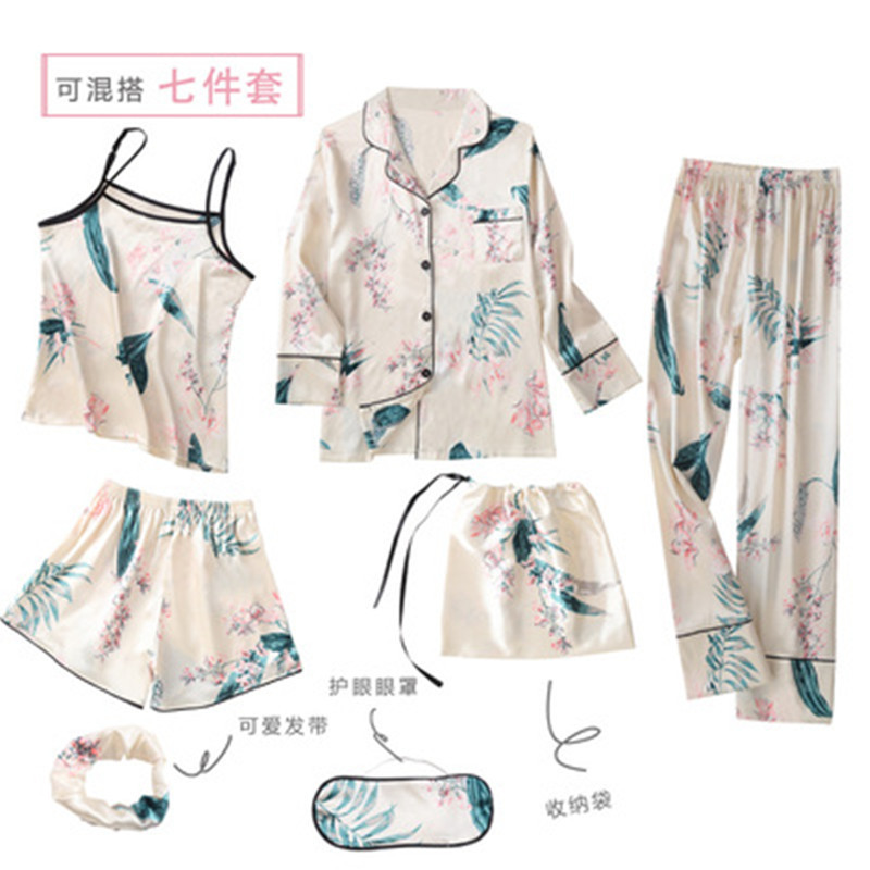 QWEEK 7 Pieces   Sets   Silk   Pajamas   For Woman Satin   Pajamas     Set   Sexy Spring Summer Autumn Pyjamas Women Printing Pijama Home Wear
