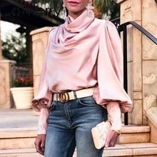 Jamerry 빈티지 핑크 새틴 여성 블라우스 거북이 pleated 럭셔리 블라우스 셔츠 솔리드 랜턴 슬리브 패션 우아한 파티 탑스