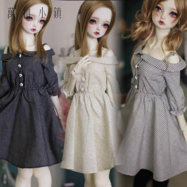 New 1/3 SD DD BJD Smart Doll Clothes Cute greyish white/Light yellow/Deep Blue  Condole belt Dress/Skirt