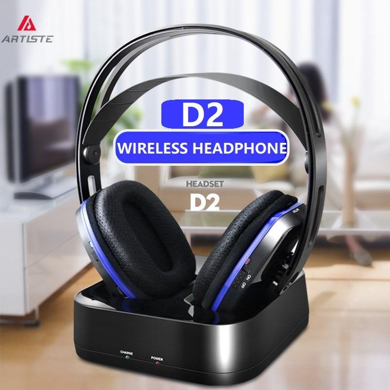 US $68.79 20% OFF|Artiste D2 2.4GHz HiFi Bluetooth headphone deep bass wireless TV headphone with transmitter dock for mobile phone music|Bluetooth