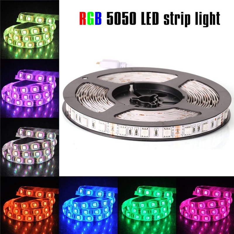 <font><b>LED</b></font> Strip 5050 RGB lights <font><b>12V</b></font> Flexible Home Decoration Lighting 5050 No <font><b>waterproof</b></font> <font><b>LED</b></font> Tape RGB/White/Warm White/Blue/Green/Red image