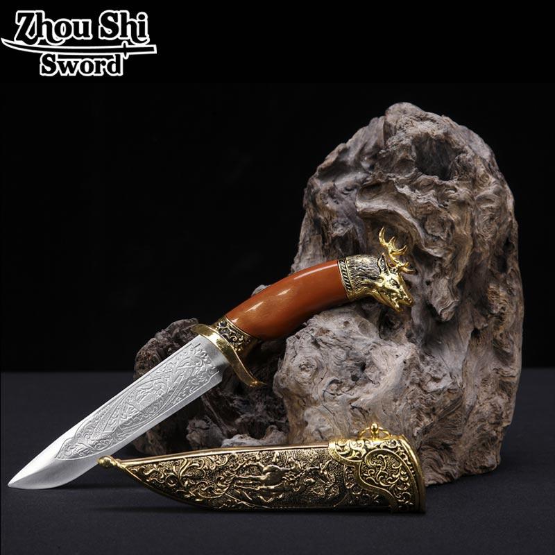 Dague classique décorée de petites épées et tête de cerf motif belle en acier inoxydable épée Cosplay accessoires cadeau