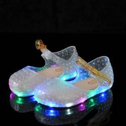 Летние девушки светодио дный сандалии хрустальные туфли девушка прозрачные сандалии детские калоши лук-узел девушки светящийся