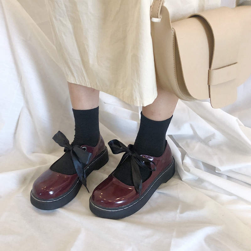Student Lolita Shoes College Girl Shoes JK Uniform Shoes Round Toes PU Leather Bowknot Mary Jane Shoes