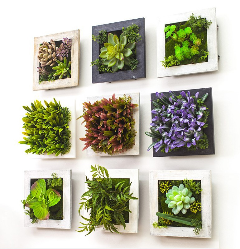 2016 3d Creative Metope Succulent Plants Imitation Wood Photo Frame Wall Decoration Artificial Flowers Home Decor Living Room