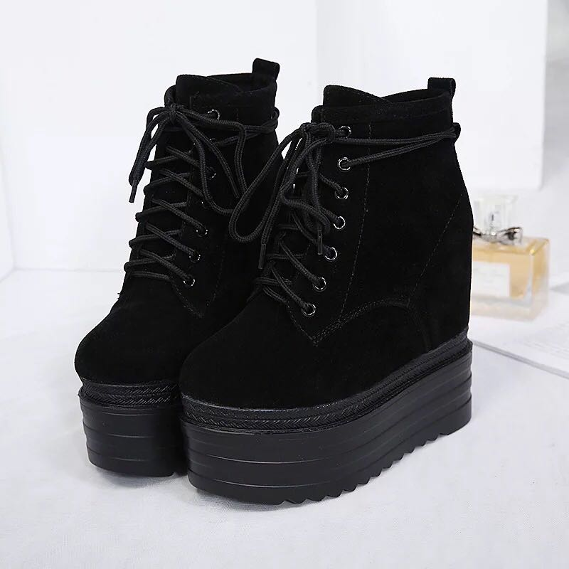 Womens Lace Up Wedge High Heel Ankle Boots Platform Suede Leather Casual Shoes Super High 14cm Black A292