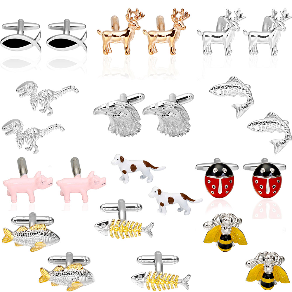 Factory Retail Novelty Cufflinks 18 Designs Option Pig / Deer / Fish / Bee / Dog / Dinosaur / Eagle Design Cuff Links