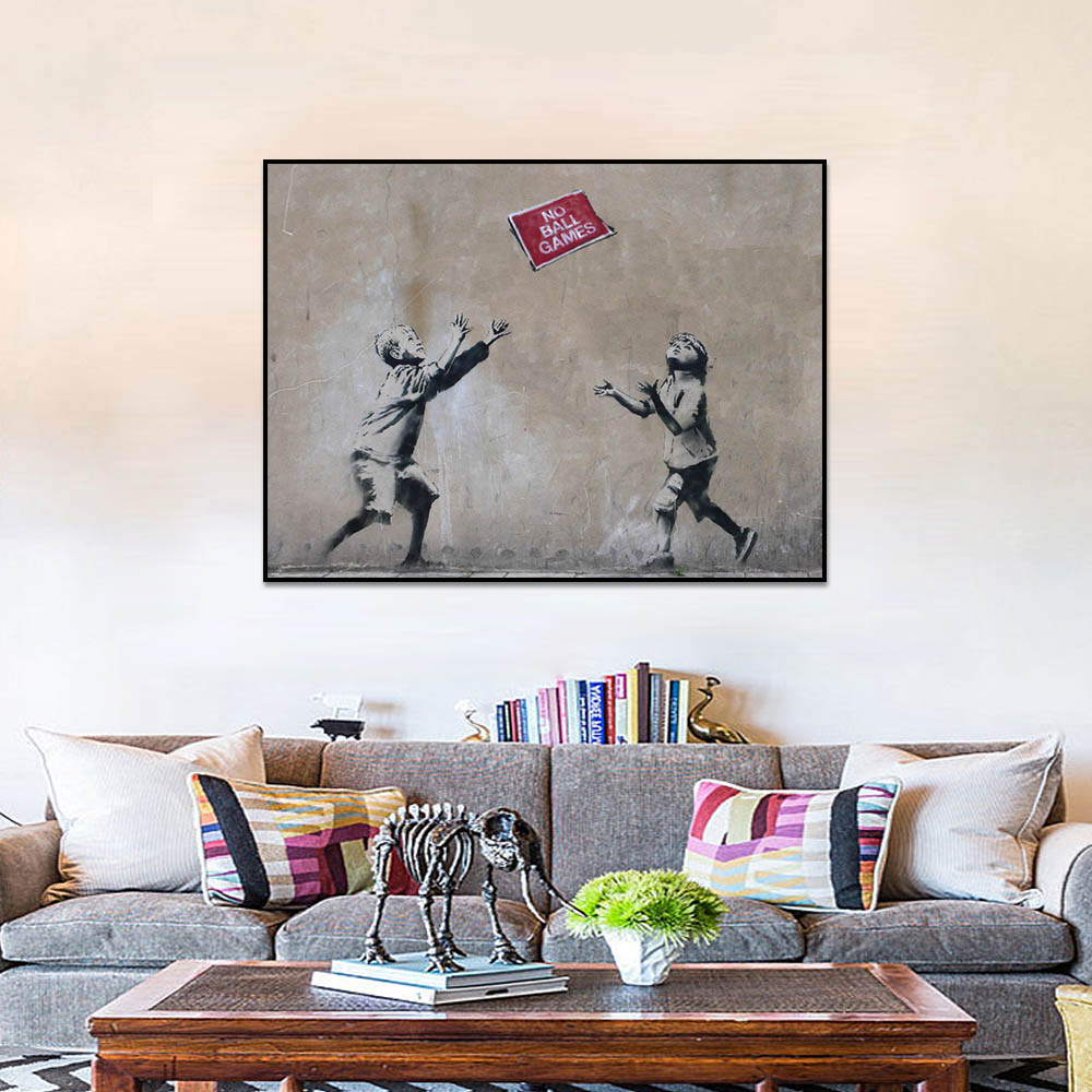 Unframed Canvas Prints Children Chasing Newspapers Prints Wall Pictures For Living Room Wall Art Decoration Dropshipping