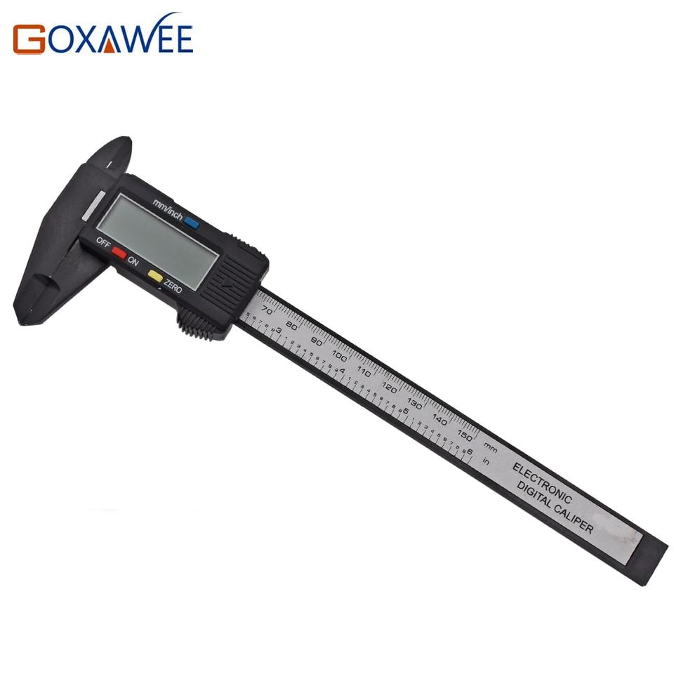 GOXAWEE 150mm 6inch Calibradores Vernier de Fibra de Carbono Electrónica Digital LCD Plástico Calibre Calibrador Micrómetro Regla Herramientas de Medición