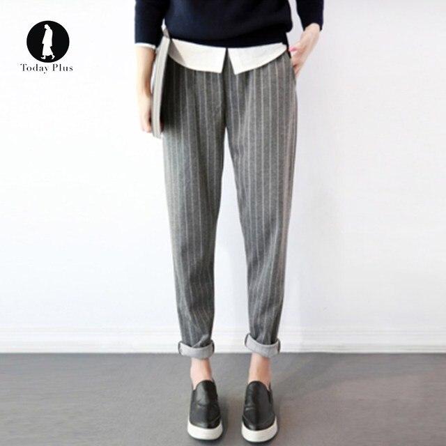 64e62be99c9 2018 New Style Striped Elastic Waist Harem Pants Women Spring Summer  Fashion Pants Female Office Lady Grey Black Trousers Pants