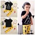 2 pcs Criança Crianças Bebê Menino T-shirt Tops + Calças Compridas Calças Outfits Vestuário Set