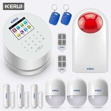 KERUI système dalarme de sécurité domestique sans fil W2, wi fi/GSM/PSTN, avec carte RFID, sirène, contrôle à distance avec application à bras programmé