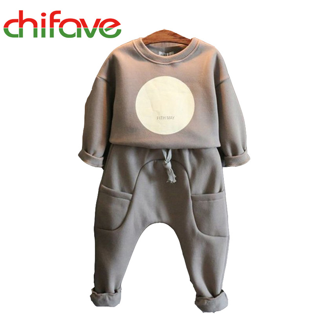 2016 New Spring Autumn Unisex Kids Sets O-neck Solid Long Sleeve Pullover Sweater+Harem Pants Suit Sets for Girls Boys Children