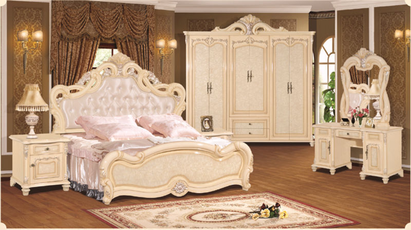 luxury suite bedroom furniture of europe type style including 1 bed 2 bedside table 1 chest a dresser and a makeup chair in bedroom sets from