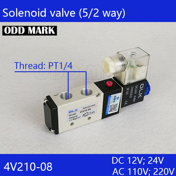 Free Shipping 1/4 2 Position 5 Port  Air Solenoid Valves 4V210-08 Pneumatic Control Valve , DC12v DC24v AC36v AC110v 220v 380v