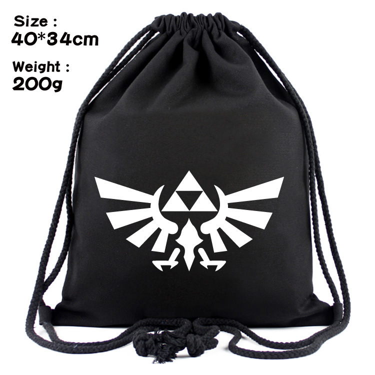 Zelda Logo Anime Fashion Canvas Backpacks Cartoon Drawstring Backpack Casual String Bags Shopping Knapsack Unisex New Gifts