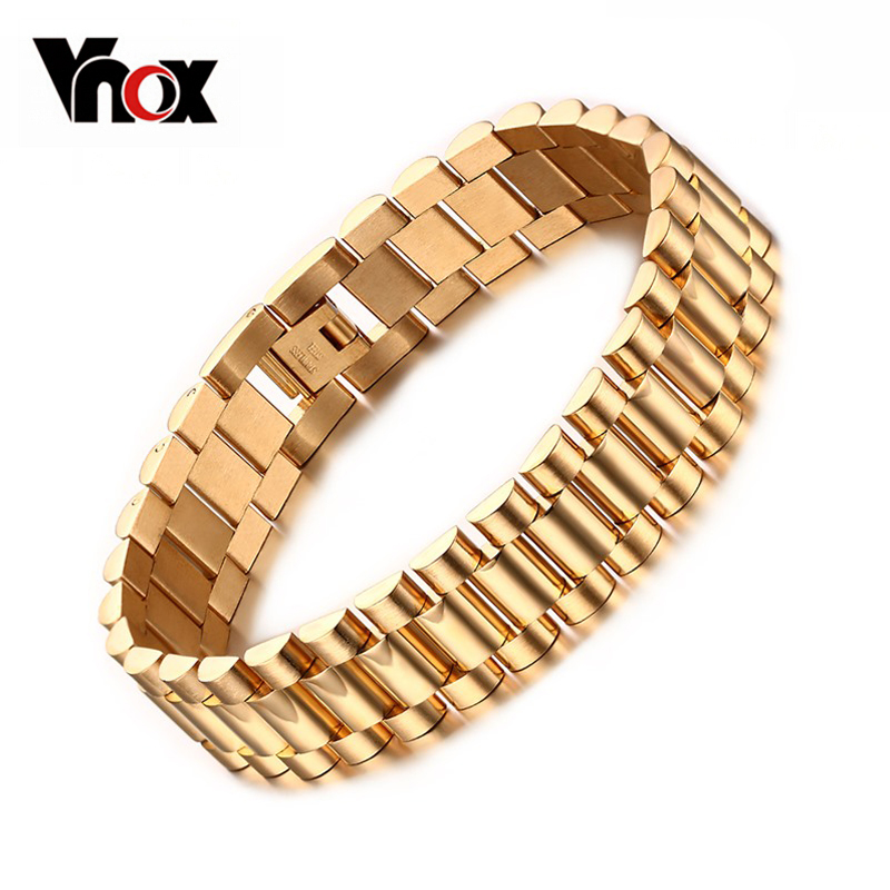 Vnox Men's Bracelet Gold-color Chunky Chain Bracelets Bangles Stainless Steel Male Jewelry u7 stainless steel bracelet men jewelry wholesale gold color mens bracelets fashion watch band strap bracelets bangles h648