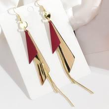 Korean Fashion Triangle Tassel Long Drop Earrings For Women 2019 New Statement Geometric Big Jewelry