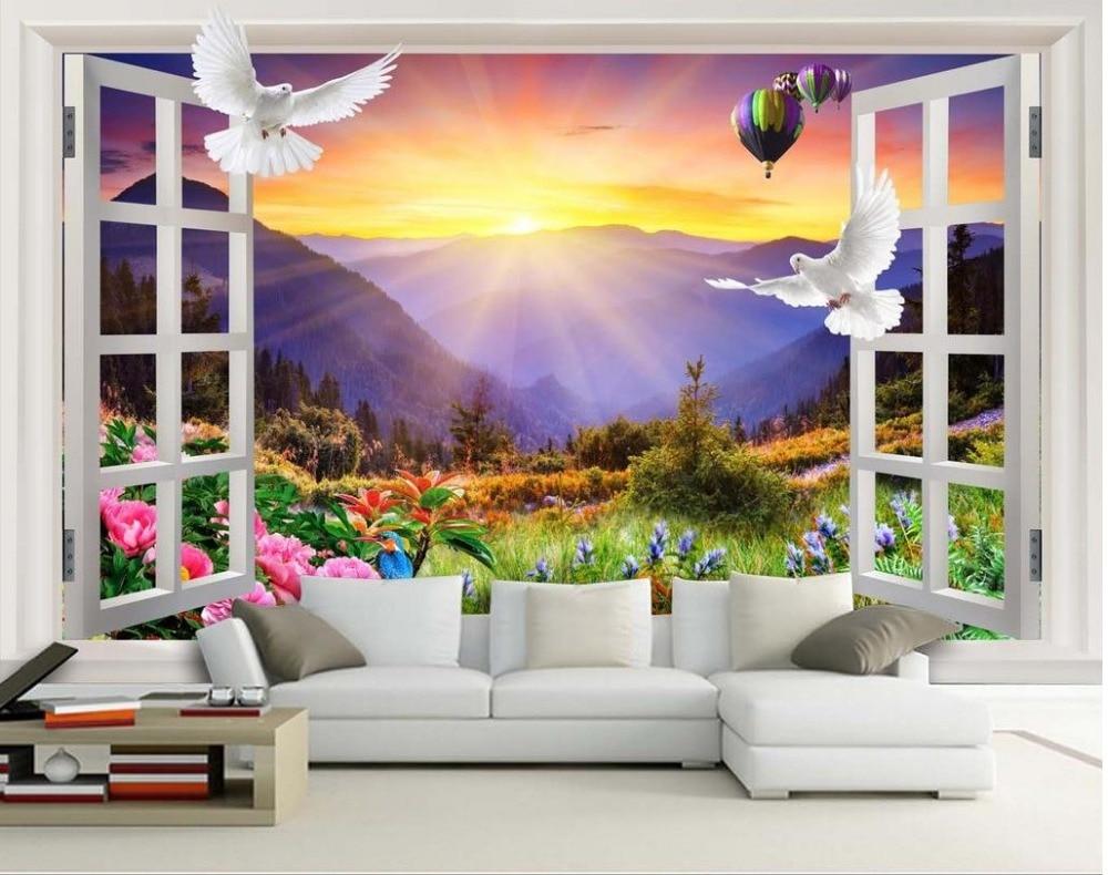 Landscape Wallpaper Murals Peony Balloon Window Views 3d